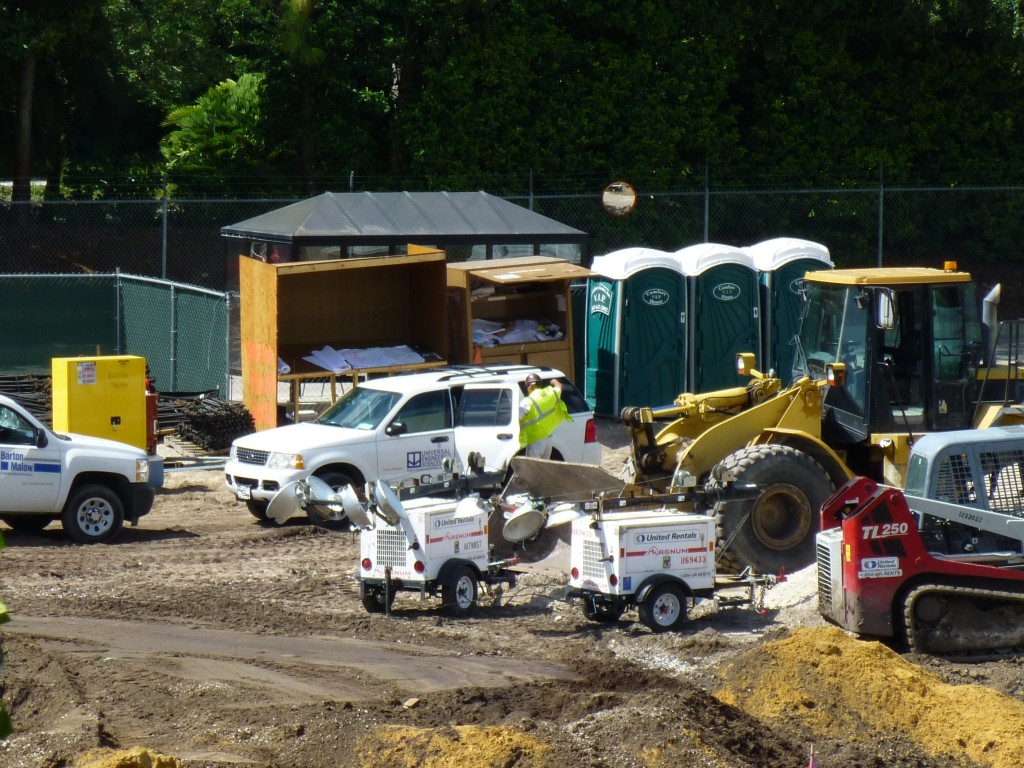 Parta-potties, blueprints, more overnight lights, and trucks from Barton Malow construction as well as Universal Engineering