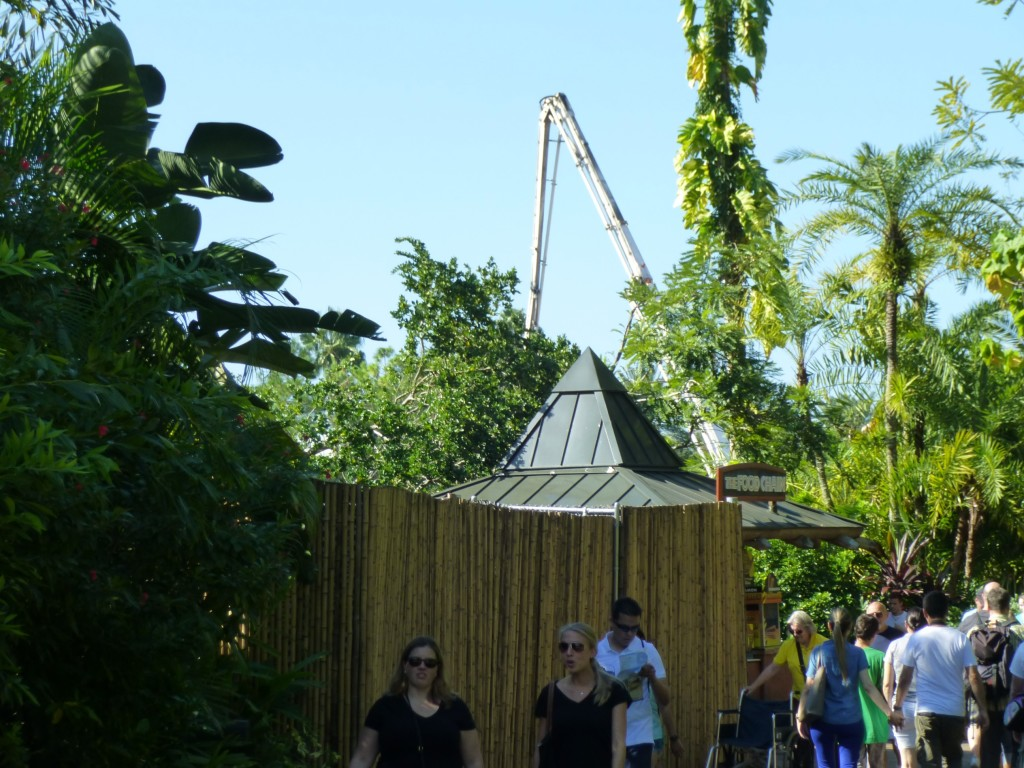 Entering the area, cranes and cherry-pickers are now on-site