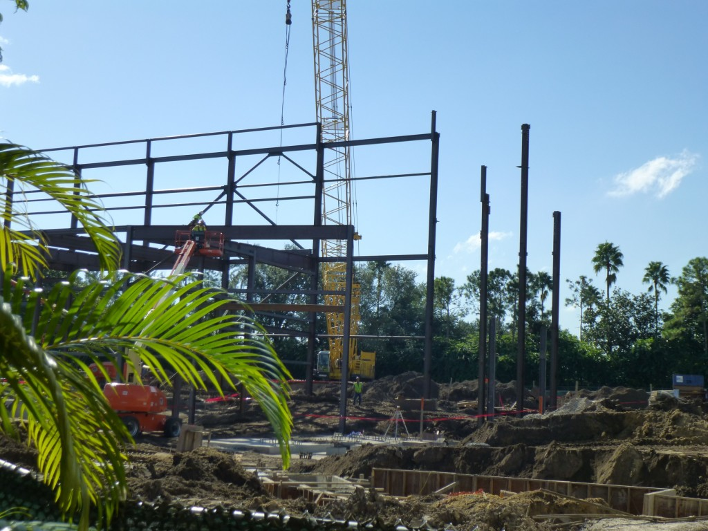 To the right of the lot they are still reinforcing the ground to hold the show building and laying more pipes