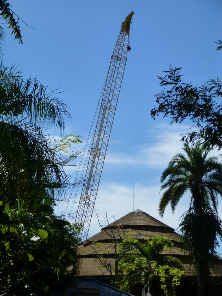 Approaching from the Jurassic Park side you can see a crane rising behind the Thunder Falls restaurant
