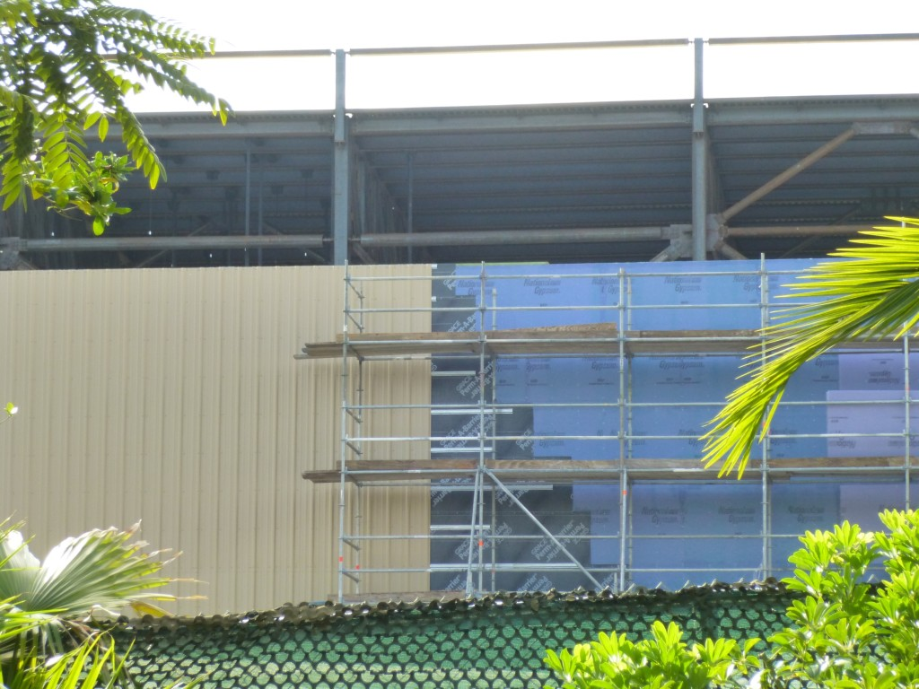 The wall is being finished off with some siding, similar to the exterior of the Gringotts building