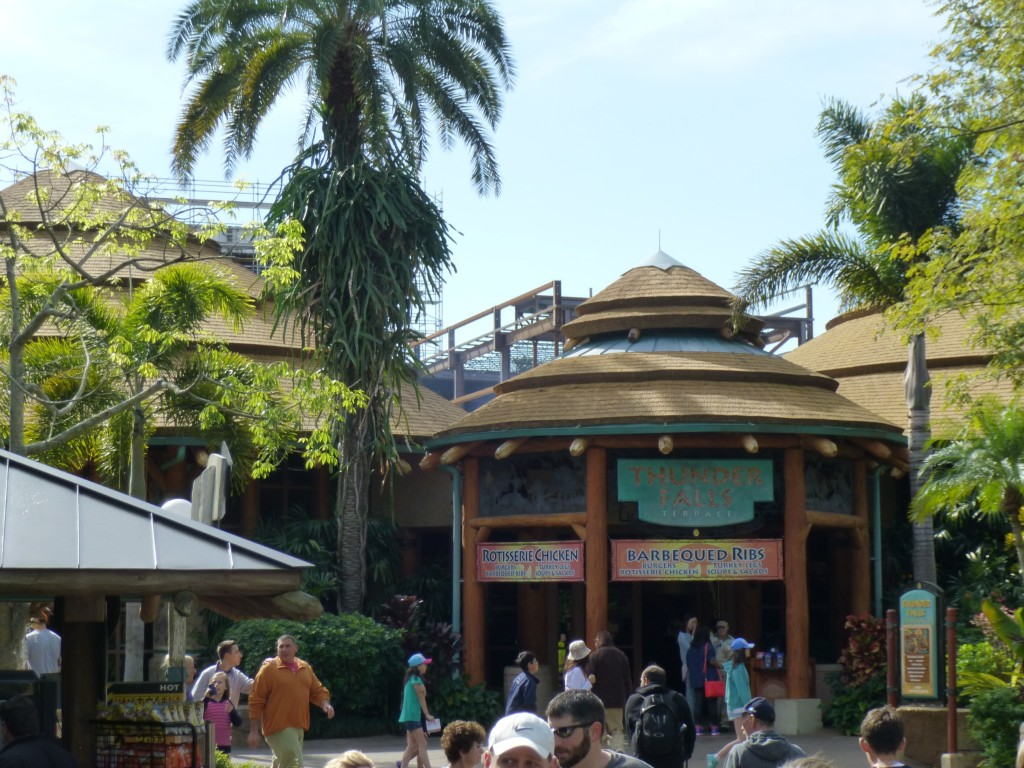 Construction looming over the Terrace Cafe in Jurassic Park