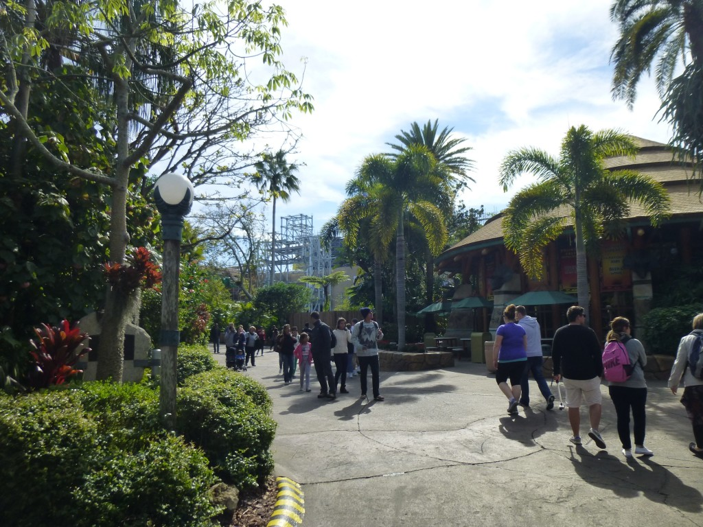 Walking towards the area from Jurassic Park, the temple gate facade looks huge in the distance