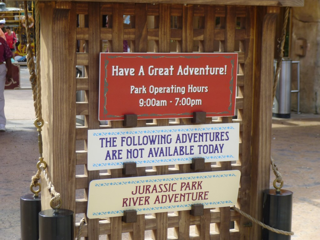 Sign greeting us at the park entrance