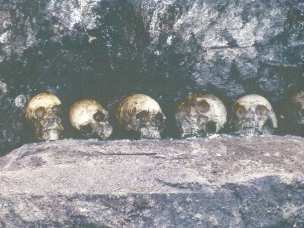 Close up of the skulls on the walls