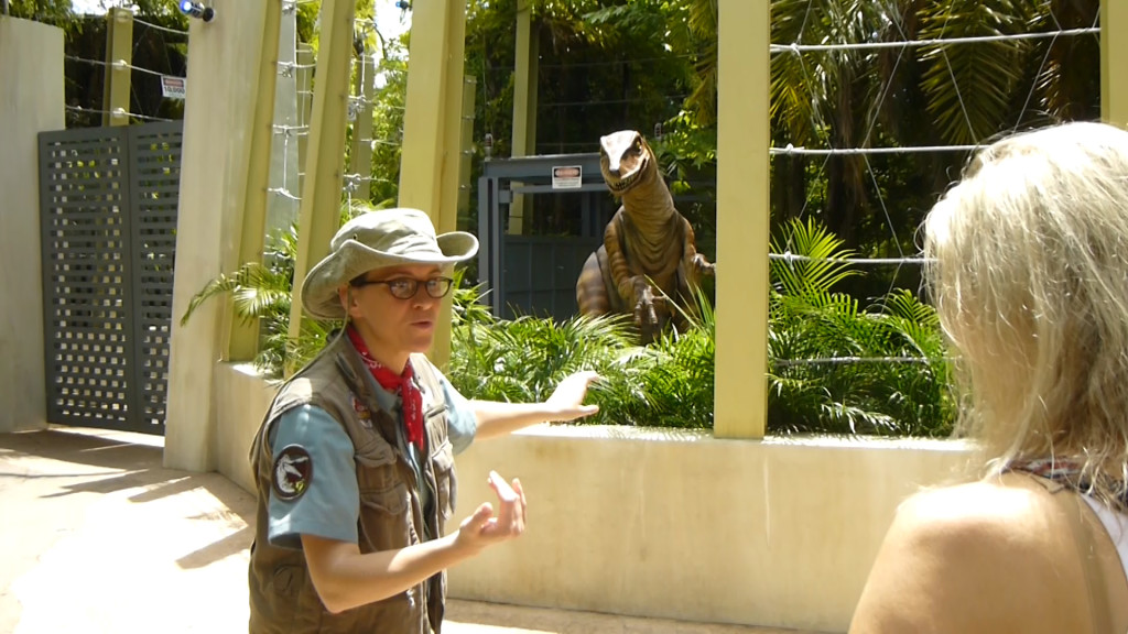 The raptor trainer coaches us on how to act around the raptor