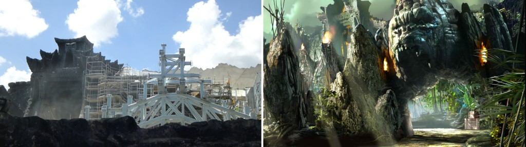 Left: Recent construction of entry arch - Right: Concept Art of entry arch