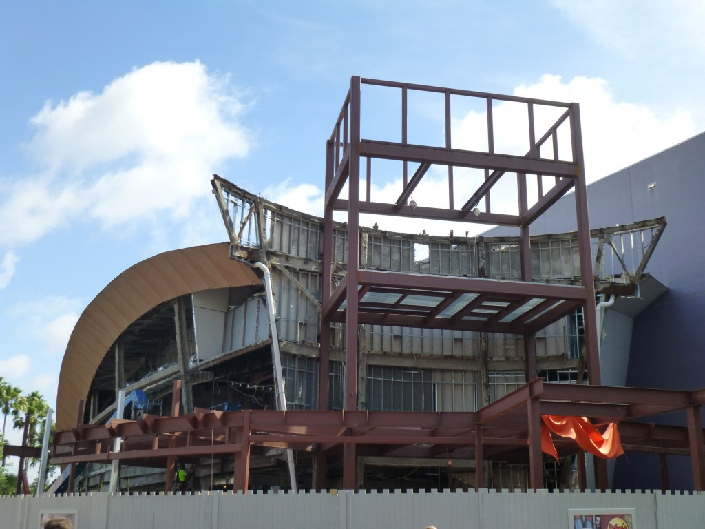 The new entrance facade taking shape, looking like the concept art