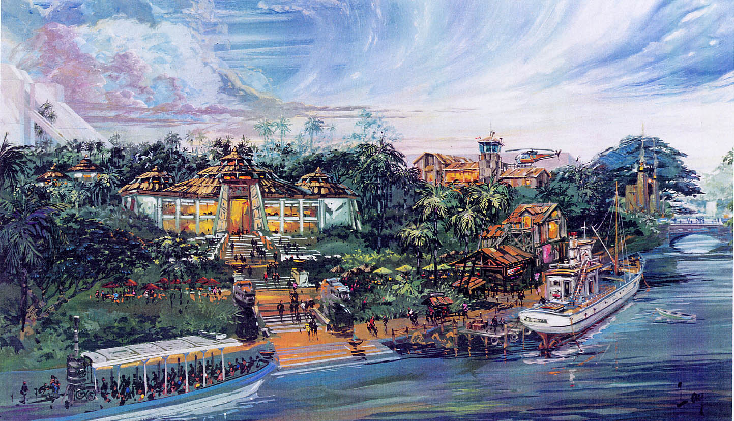 The originally planned helicopter tours building can be seen in this early concept art, where Hogwarts Castle now resides.