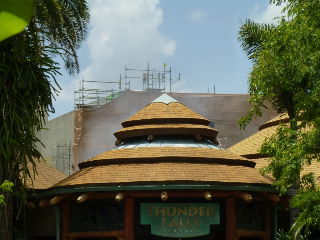 View of the structure rising above Jurassic Park's Thunder Falls