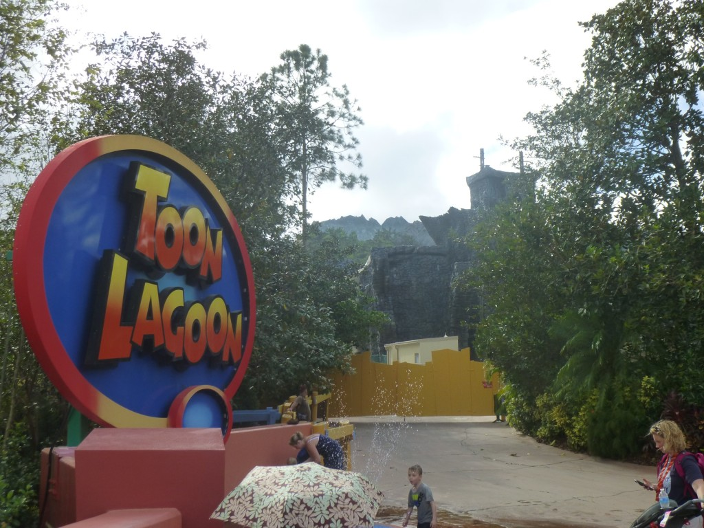 View from Toon Lagoon, small utility/power shed can be seen behind employee only barrier