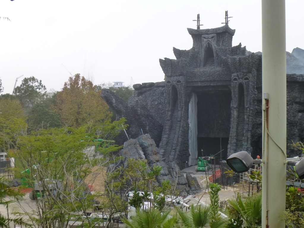 The view from Camp Jurassic's tower, overlooking the temple and outdoor ride path section