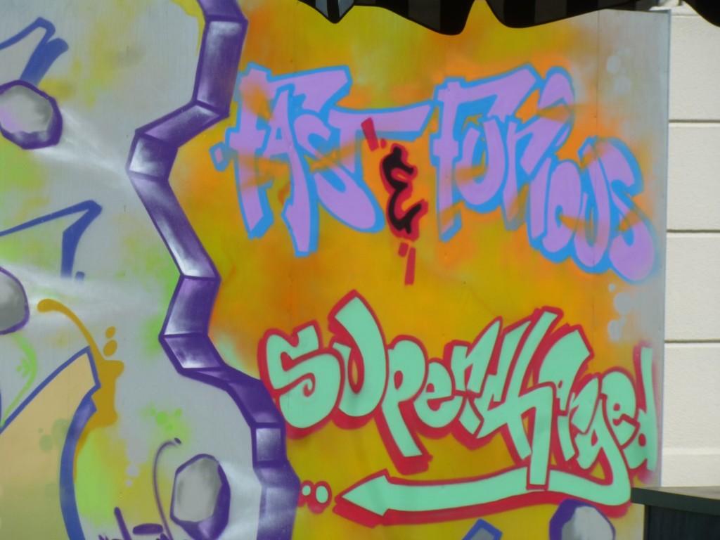 Graffiti on construction walls