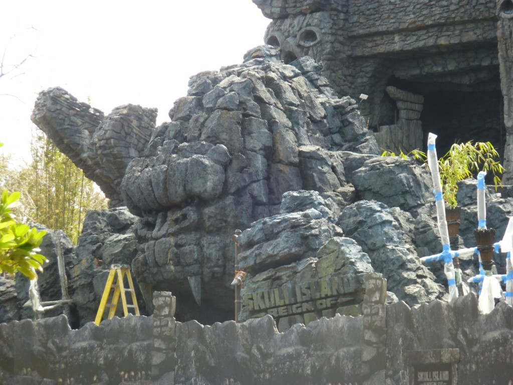 Kong arch has received fresh coats of paint to make it look old and new rockwork sign added