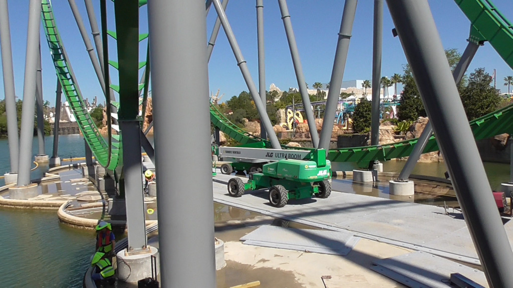 Some minor work still being done around footers in lagoon