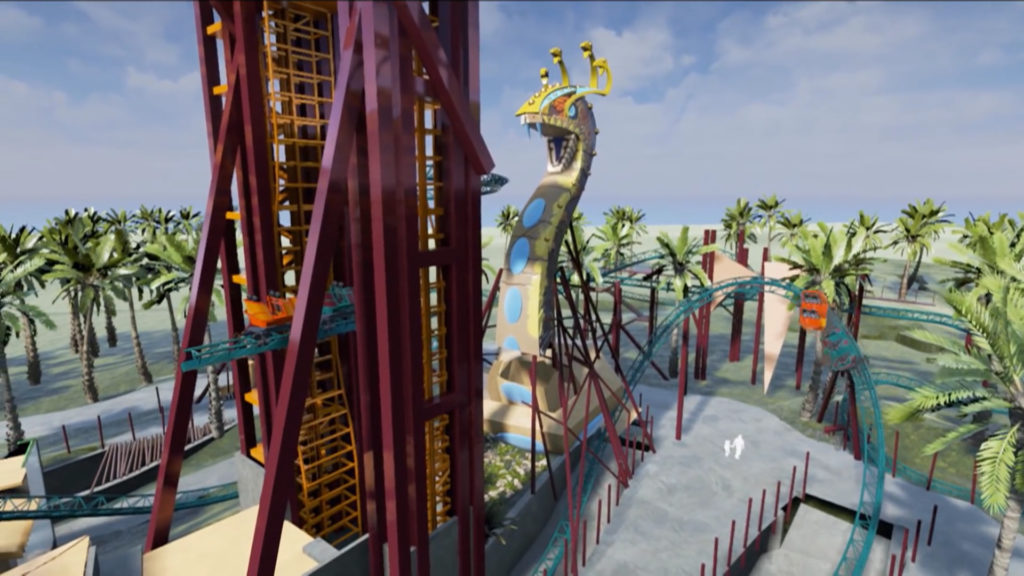 Concept art of ride cars being lifted up on elevator track