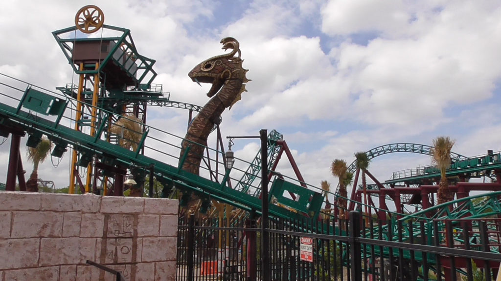 The view of Cobra's Curse track layout as seen from Montu entrance