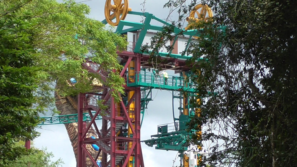 View from back shows how track lift is nearly all the way to the top, where it will connect to ride track so cars can start ride