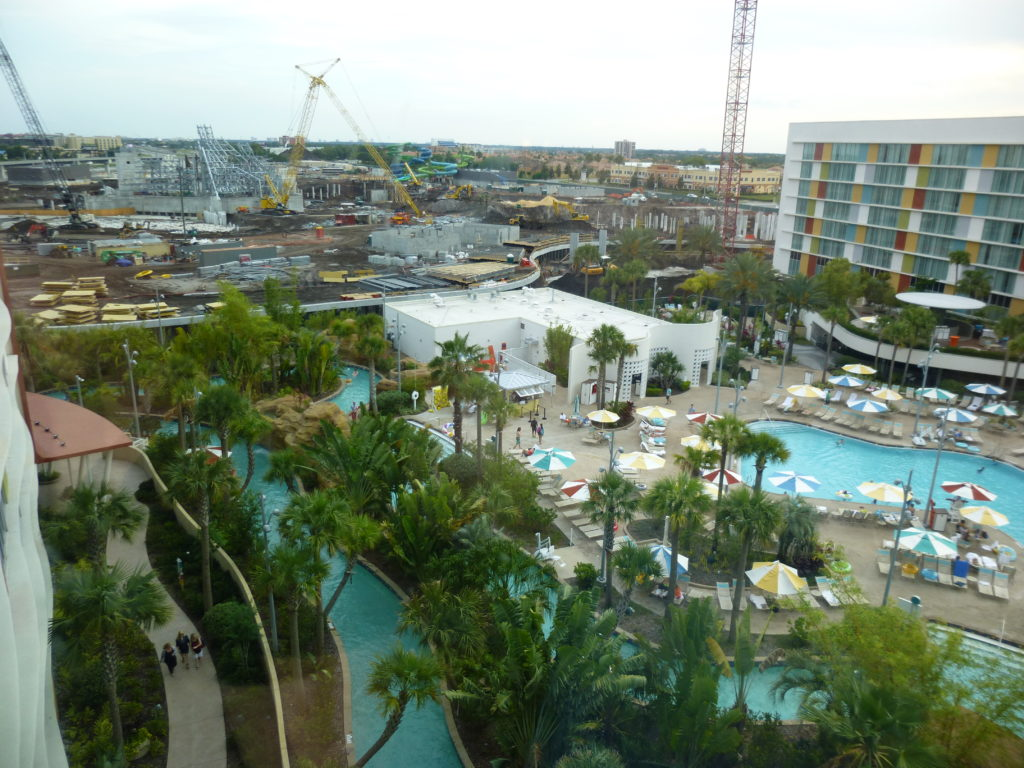 Volcano Bay as seen from Cabana Bay Resort. Notice the curving berm separating the two properties.