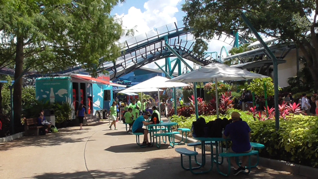 New tables with umbrellas and refreshment stand added near Nautilus Theater