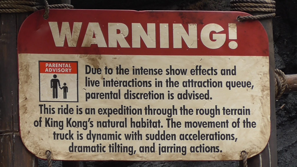 Warnings about scary queue and ride movements