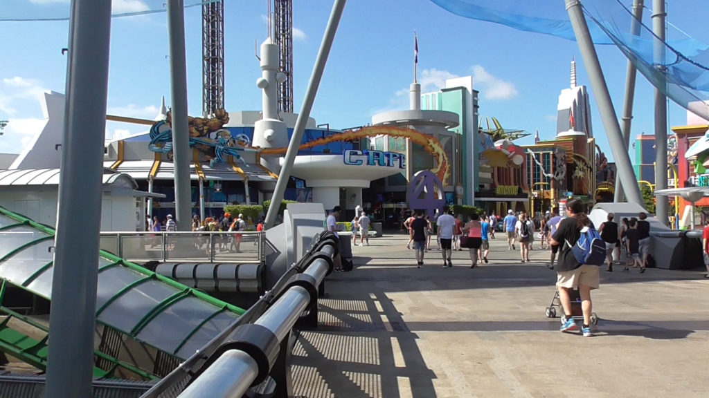 The view of Marvel Superhero Island from the bridge from Port of Entry