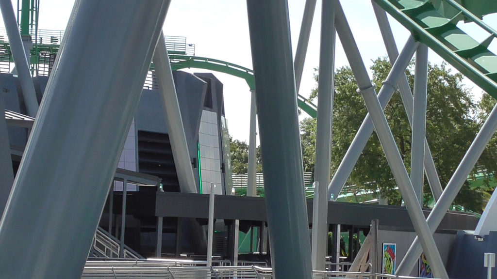 A look at the queue building with new covered area out front