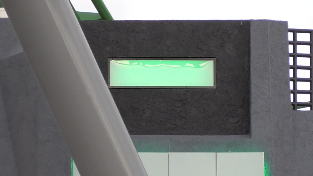Lighting effects pulse on the building