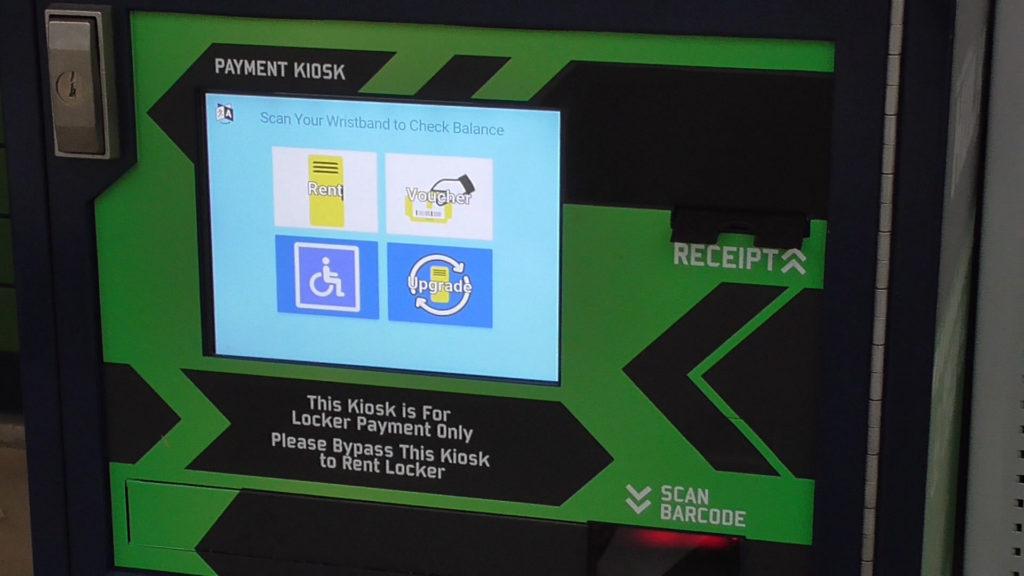 Closer view of optional locker pay kiosk