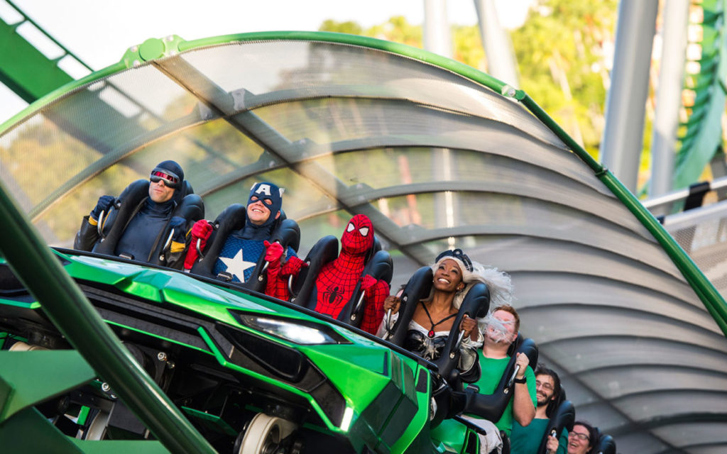 Superheroes enjoying the ride