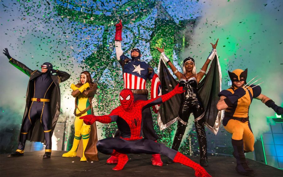 Marvel superheroes were on hand for the grand opening ceremony