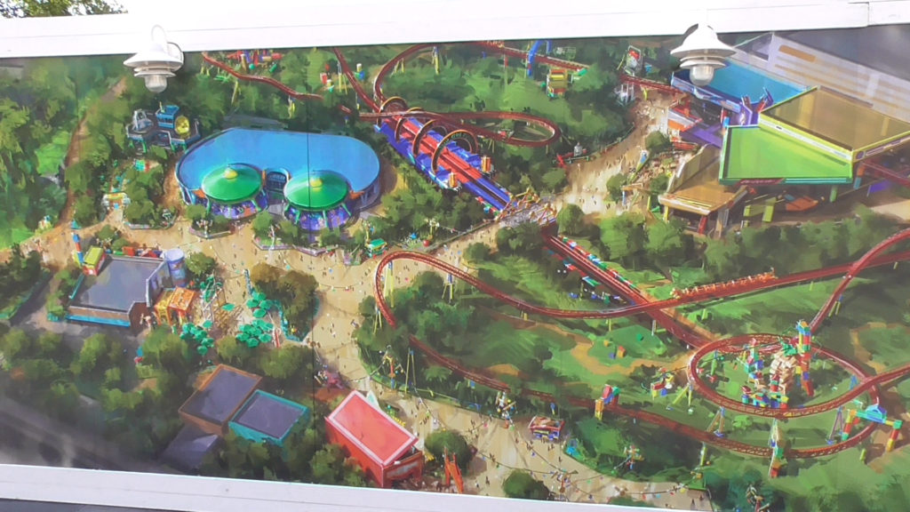 Concept Art posted on work walls shows off Slinky Dog family coaster...