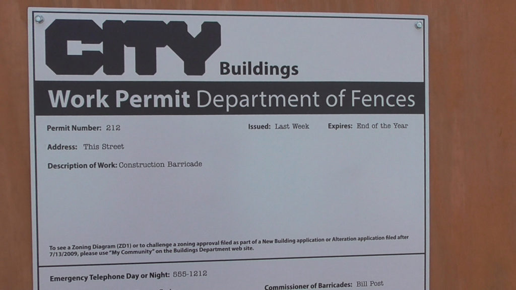 """Silly permit for work being done on """"This Street"""""""