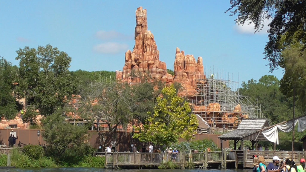 Scaffolding can be seen on Big Thunder Mountain from afar