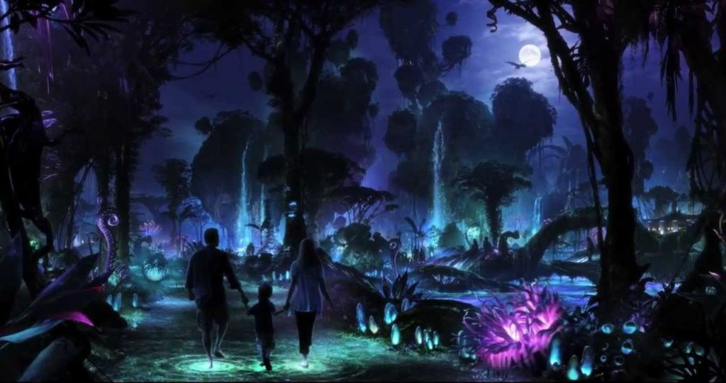Pandora becomes another realm at night, with bioluminescent plants and interactive elements all around
