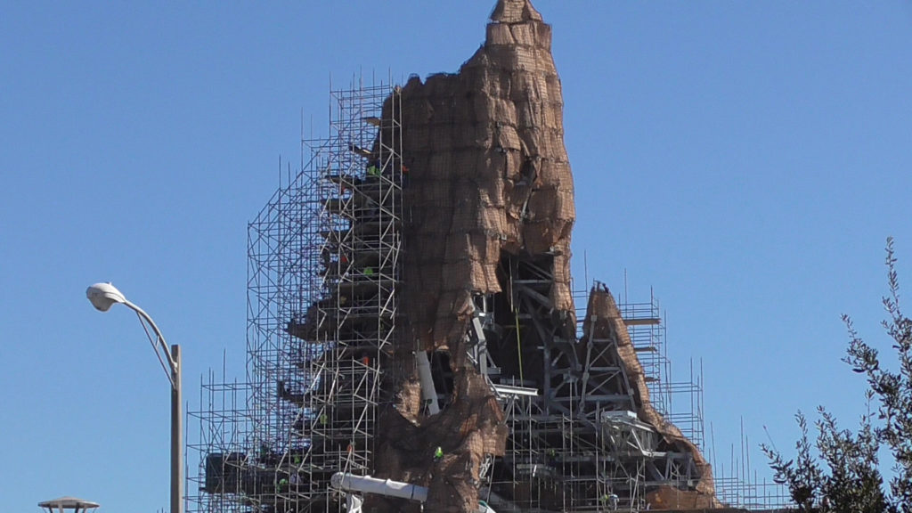 Side view of volcano top