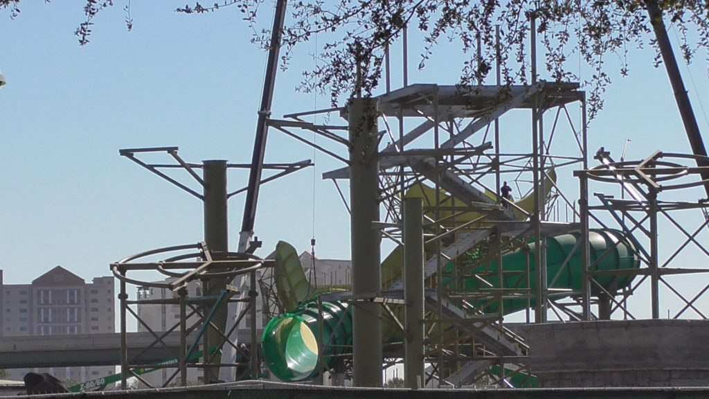 New large slides being constructed in back corner of lot