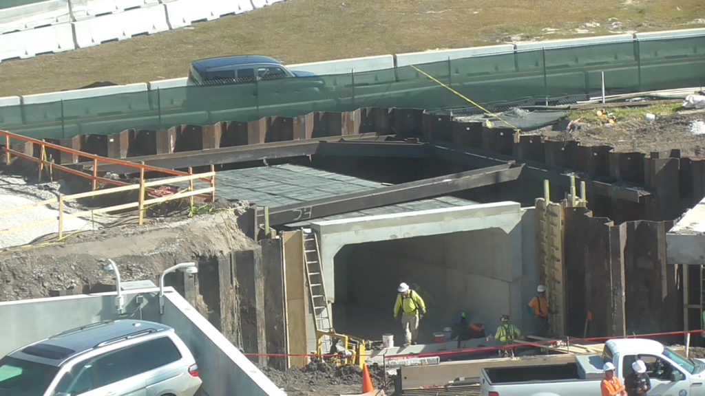 Pedestrian tunnel under construction, will lead to tram drop-off