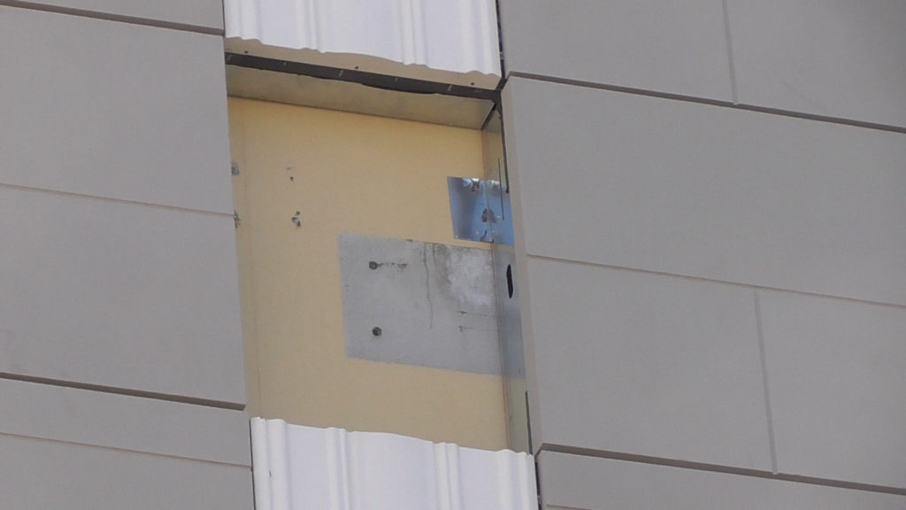 Closer view of a window gap. Notice it has a hole on side for wiring to pass through