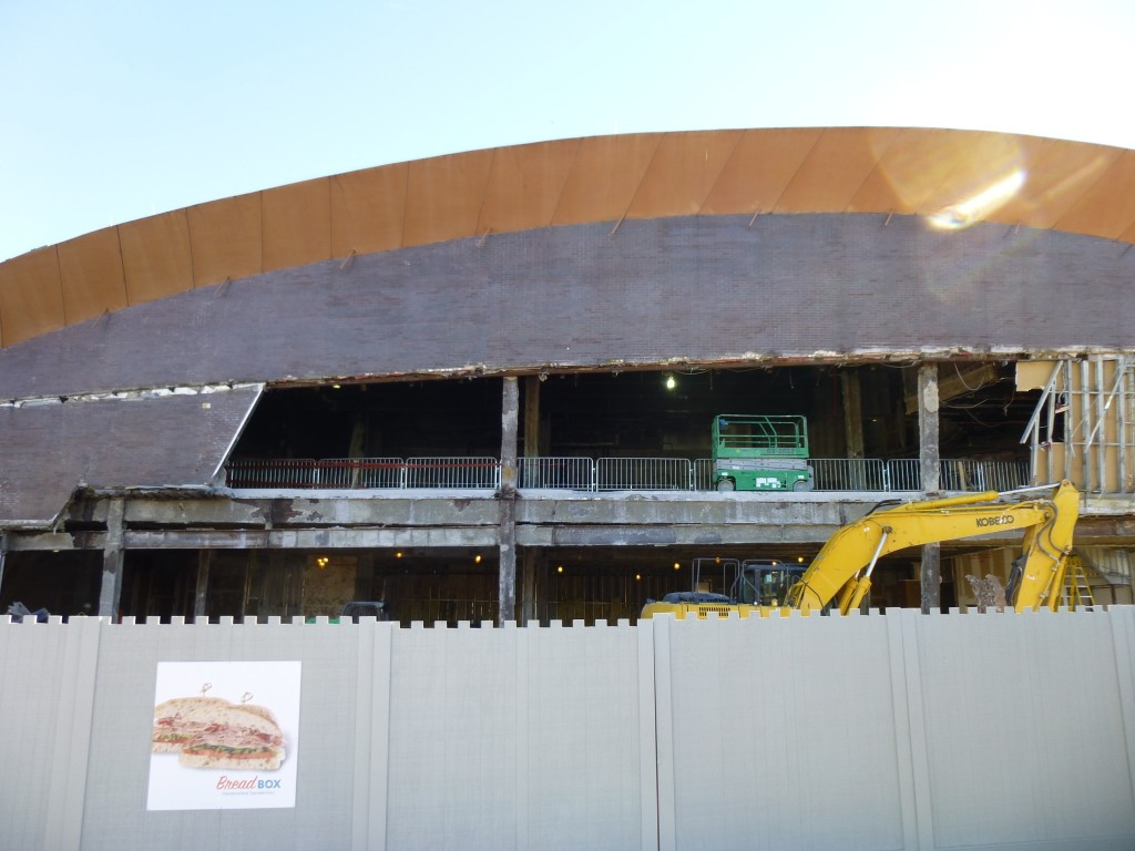 Side-view of the gutted NASCAR Cafe.