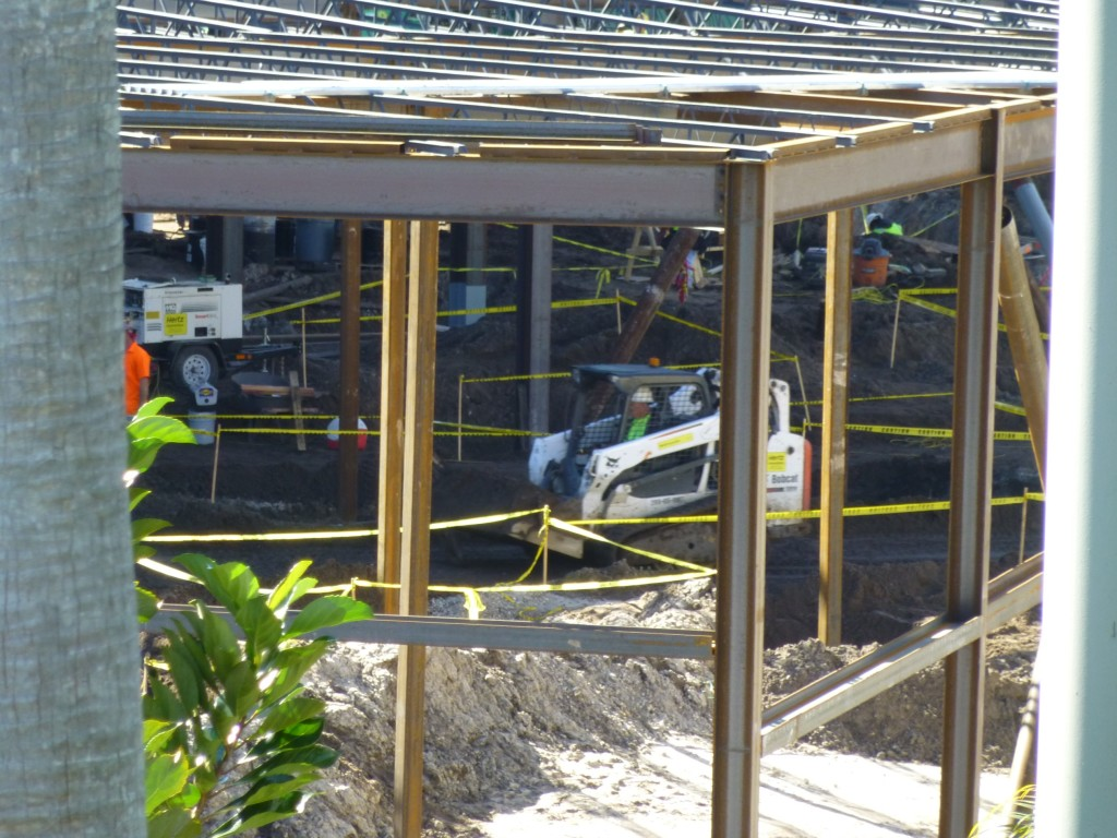 Clearing the ground inside new indoor queue area