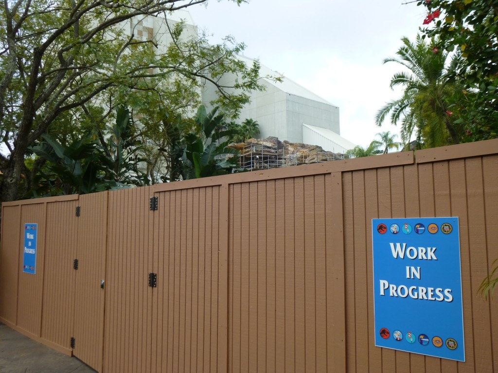 "Construction walls stretched from Thunder Falls to the gift shop, blocking the entire ""Splash Zone"" walkway"