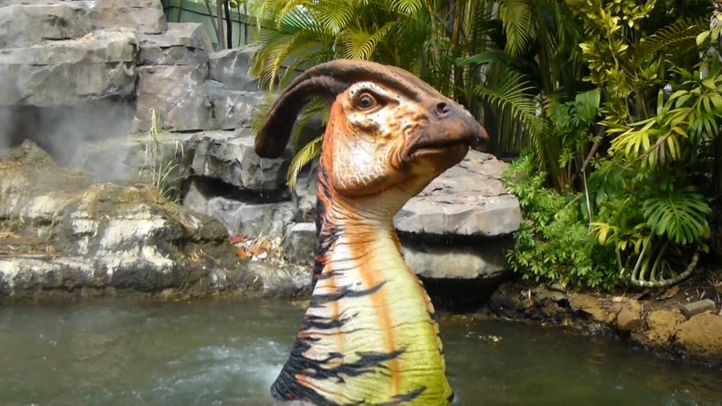 The Parasaurolophus is sporting some bright colors today.
