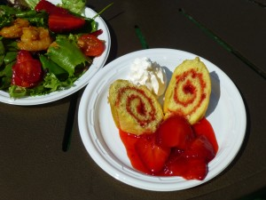Delicious Strawberry Shortcake and the tangy Habanero Shrimp Salad