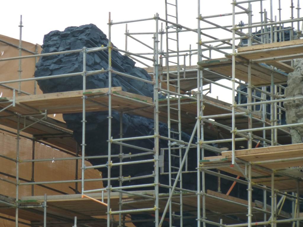 Close up of the primed rockwork