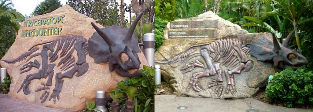 Triceratops Encounter entrance, the left is the sign as it appeared when it was open and the right is how it looks today