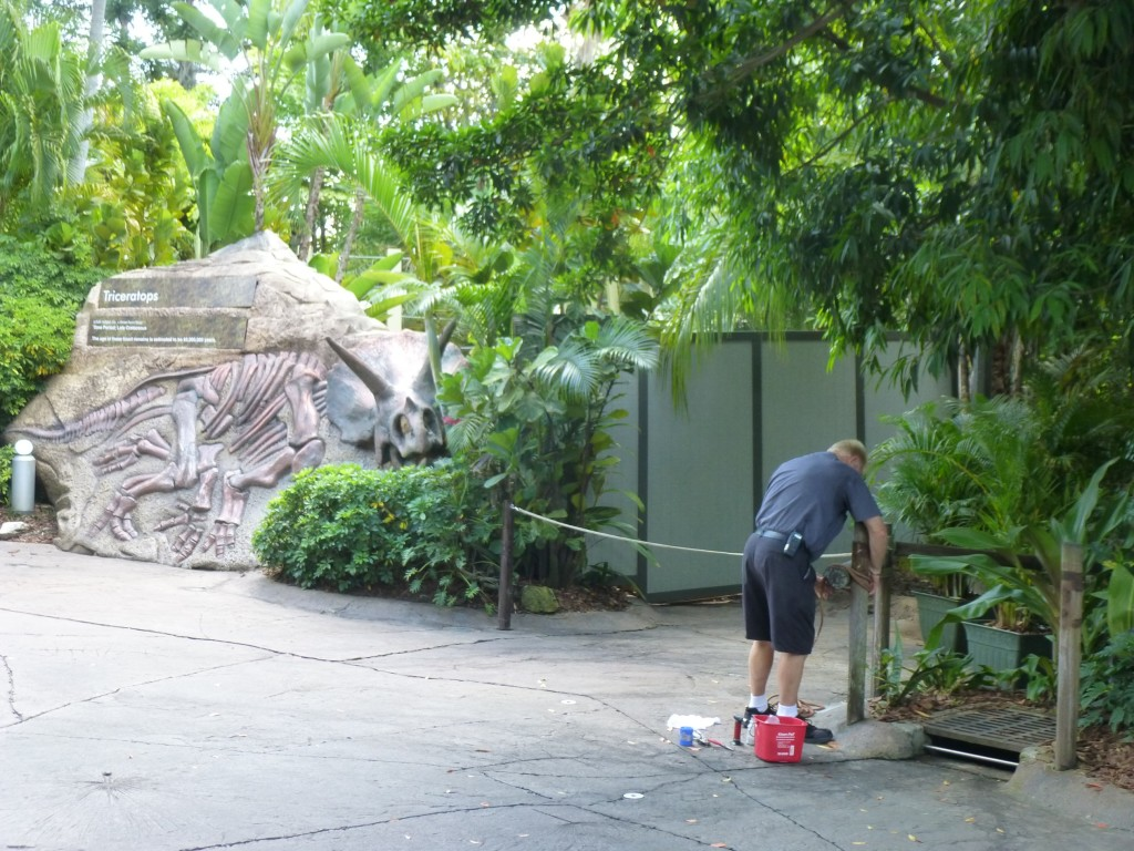 Beautification work being done on queue markers