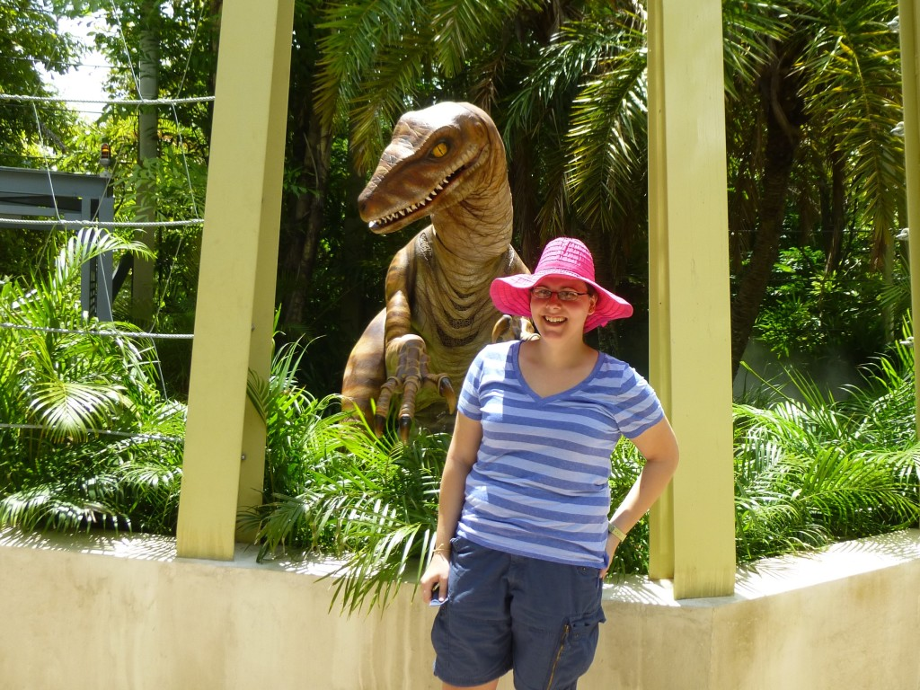 I leave you with a photo of myself with my new friend Lucy the Velociraptor! Be sure to check out my Raptor Encounter update
