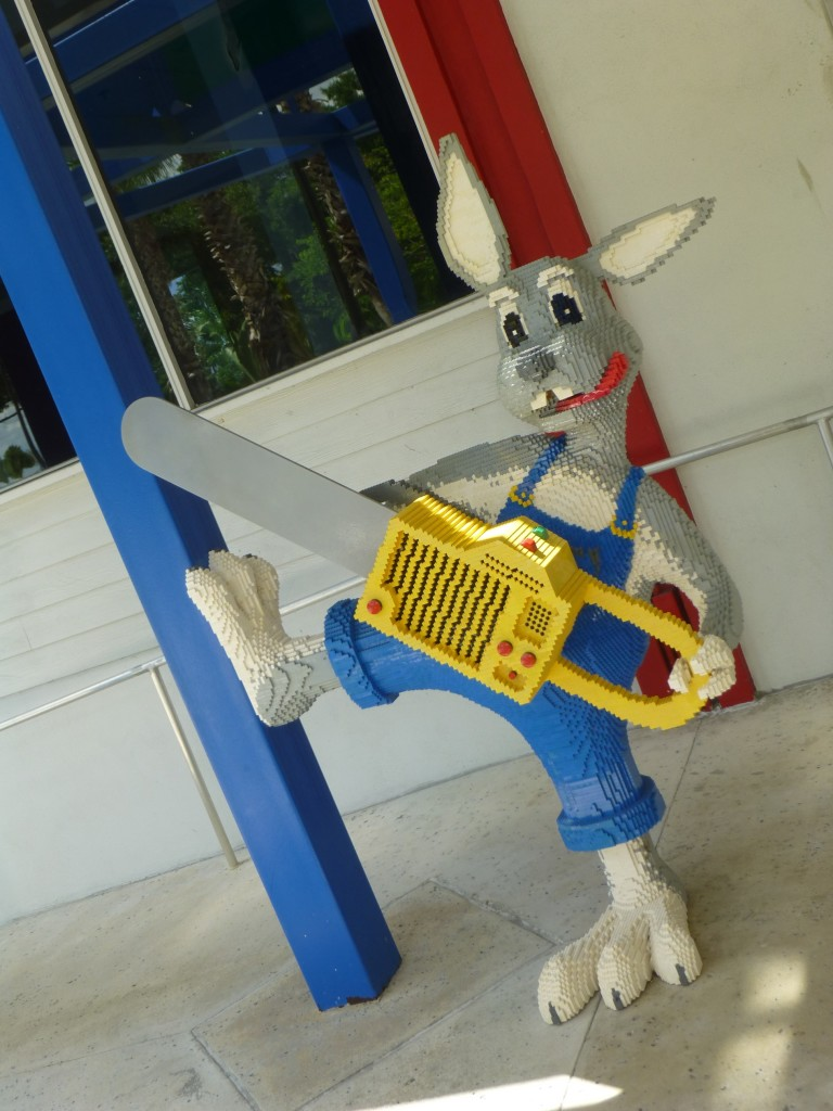 I leave you with a crazy LEGO kangaroo trying to chainsaw down the building!