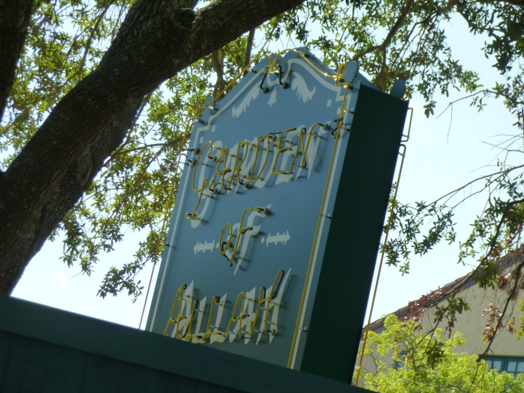 The Garden of Allah sign has returned, shiny and clean